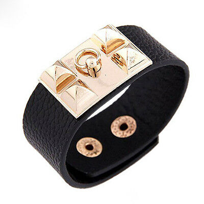 Vintage Women Punk Stud Pyramid Metal Leather Wristband Bangle Cuff Bracelet