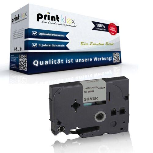 Premium kompatible Schriftband für Brother P-Touch 350 Kassette Silber 18mm