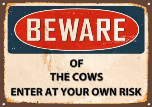 Beware of the Cows Metal Sign Vintage Home Wall Door Plaque 1207