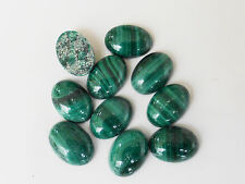 2 x Natural Green Malachite Oval Cabochons 7mm x 5mm Semiprecious Gemstones