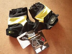 Crivit-Sports-Lycra-Padded-Cycling-Gloves-Size-7-XS-New-Black-amp-Lime