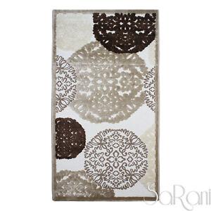 Tapis-Moderne-Floral-Couchage-Court-Plusieurs-Dimensions-Beige-Salon-Chevet
