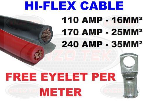 PVC FLEX BLACK RED BATTERY EARTH STARTER WELDING CABLE 110 170 240 Amp