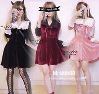 Harajuku Gothic Sweet Dolly Lolita 2ways Velvet Bow Dress Sexy Lady Long Sleeve
