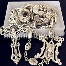 SILVER Italy Catholic Our Lady Of Grace Mary Rosary Cross Crucifix necklace box