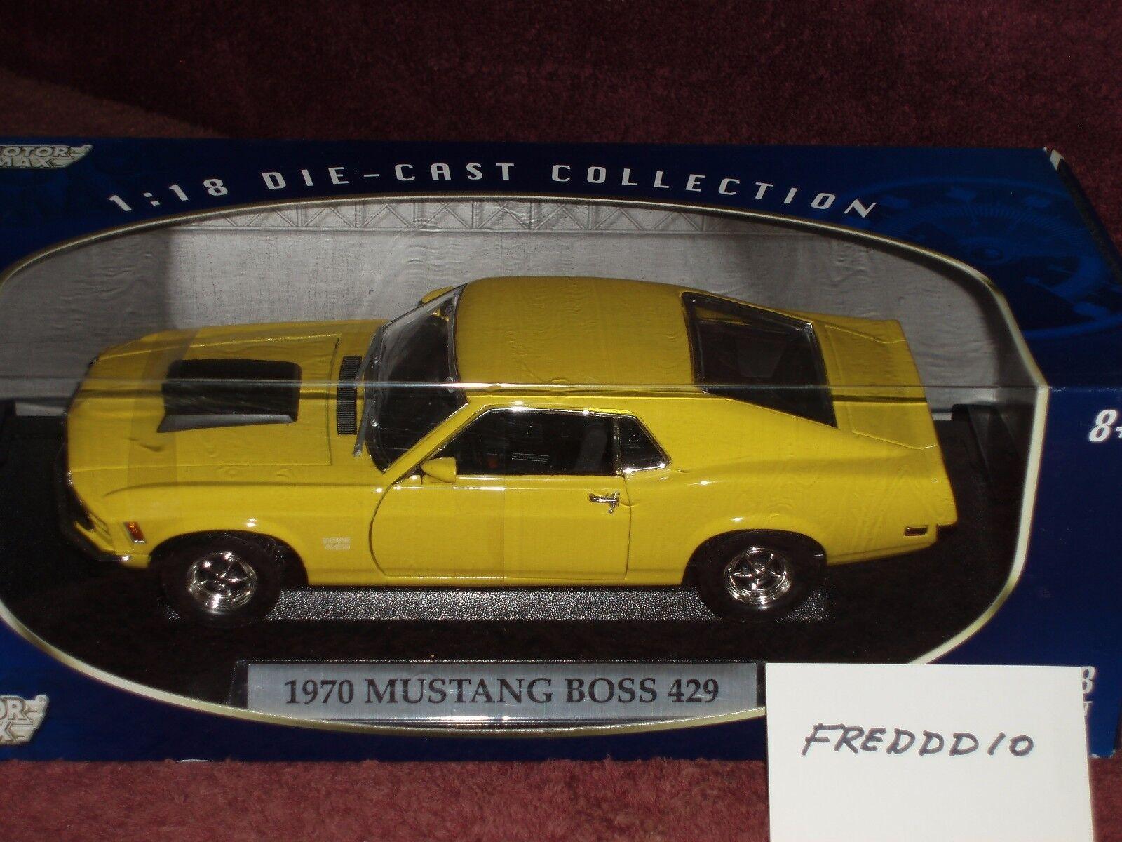 Motor Max 1970 Ford Mustang Boss 429 giallo nero Interior & Trim 1 18 Menta en caja