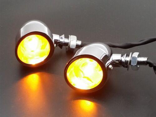 Chrome Bullet Turn Signal W// Visor For Honda Kawasaki Suzuki Yamaha VN VTX VT CB