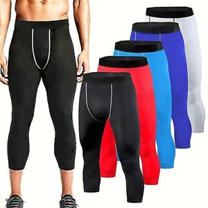 b859a2670c36a Mens Compression 3/4 Cropped Pants Base Layer Running Tights Gym ...