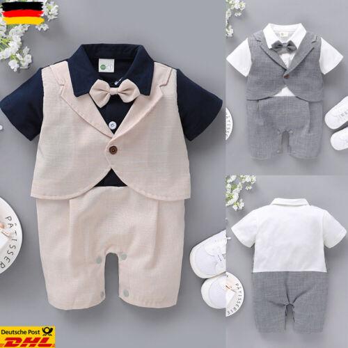 Jungen Baby Overall Kurzarm Jumpsuit Sommer Bodysuit Hemd Hosenanzug mit Bowknot