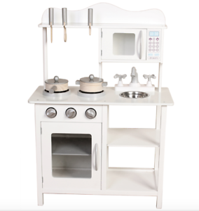 Play Kitchen Kids Large Wooden Toy Kitchen Play Set White