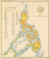 1899 Etnografic Coastal Survey Map Of The Philippines Home School Office Poster