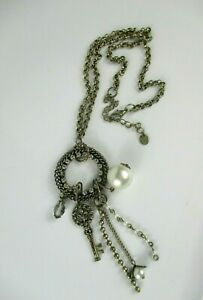 Fashion-Signed-034-N-034-Silver-Tone-Jewelry-23-034-Inch-Necklace-w-Faux-Pearls