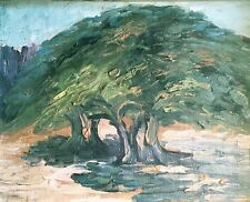 TREE STUDY IN LANDSCAPE: OIL PAINTING on canvas board: Signed