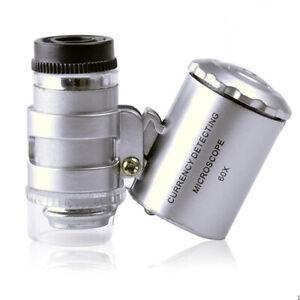 PT-60x-Portatile-Microscopio-Tascabile-Lente-Gioielliere-Ingrandimento-con-Le
