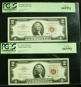1963A $2 United States Notes 2 Consecutive Serial Number Star Notes PCGS 66PPQ