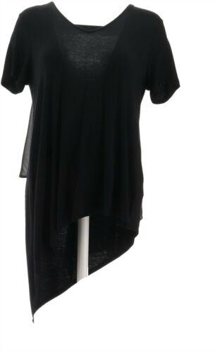 Lisa Rinna Collection V-Neck Top Chiffon Back Black XL NEW A303168