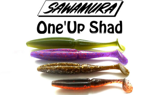 "Sawamura One`Up Shad 4/"" 6 pcs 10,16cm fishing lures original range of colors"