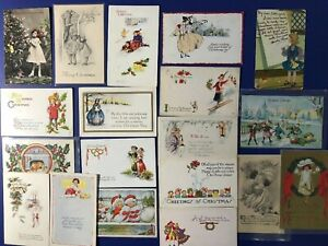 Christmas-Antique-Vintage-19-Postcards-Collector-Items-Children-amp-People-Nice