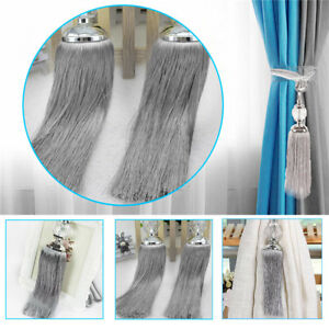 1-2PCS-Curtain-Holdbacks-Rope-Tie-Backs-Tassel-Tiebacks-Beaded-Ball-Decor-Silver