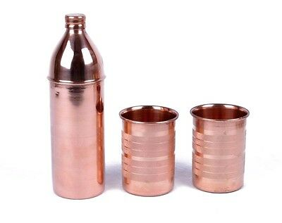 Copper Bottle Drinking Water Pot Mug Cup Pure Indian Utensils Yoga Meditation