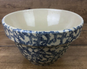 Vintage-Roseville-Pottery-RRP-Blue-Spongeware-Mixing-Bowl-7-Inch