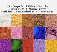 Mica Powder Pigments Matte Or Pearl Shimmer Sample Set Or 1-4 Oz Per Color