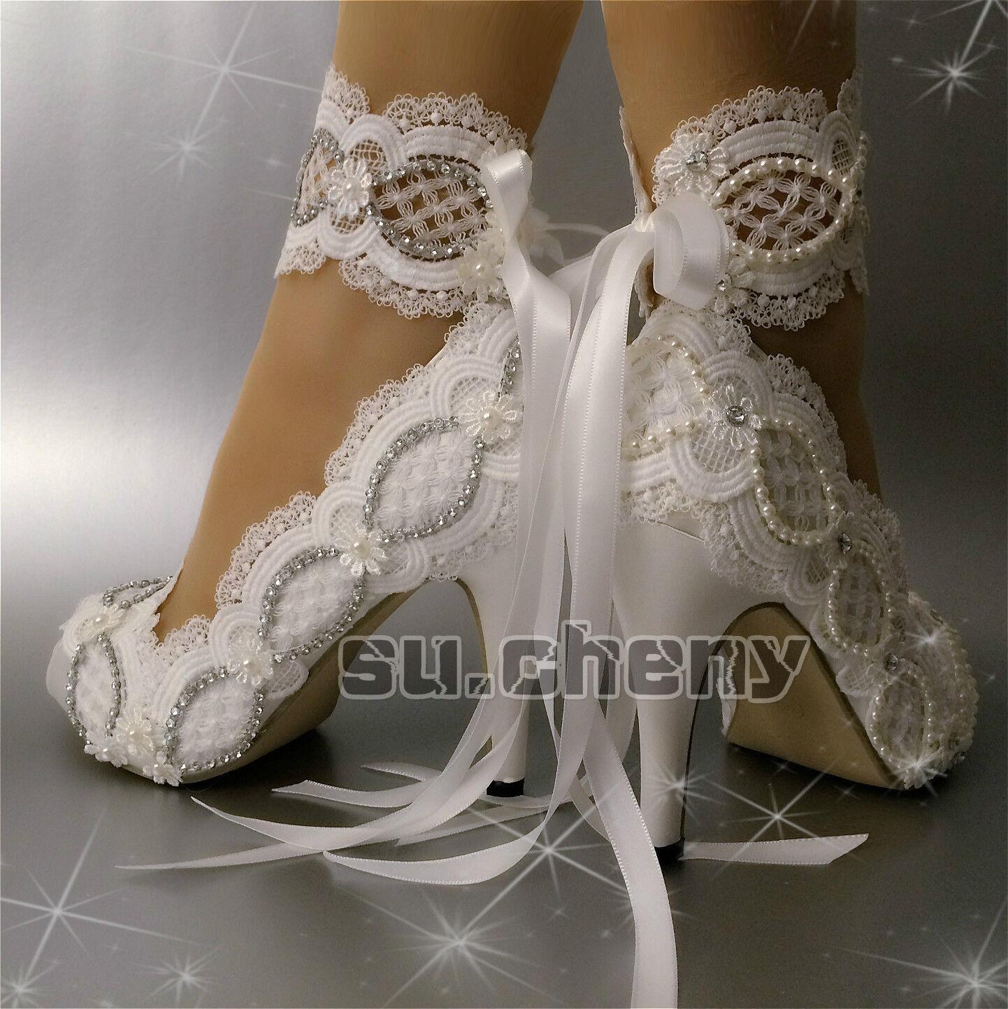 """3"""" 4"""" heel satin WEISS ivory lace pearl crystal open toe Wedding schuhe Größe 5-11"""