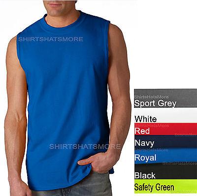 GILDAN MENS TANK TOP Preshrunk Cotton Sleeveless Muscle Tee T-Shirt S,M,L,XL 2X
