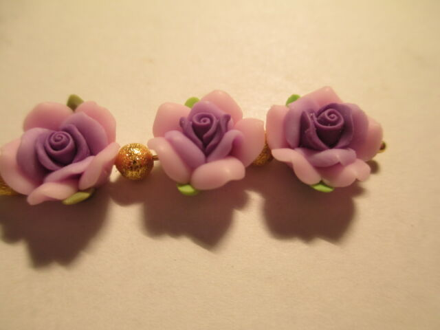 144  Fimo Clay 3 Tone Purple Flower 12 mm Beads 7A3