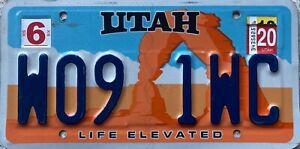 GENUINE-Utah-Life-Elevated-Arch-USA-License-Licence-Number-Plate-WO9-1WC