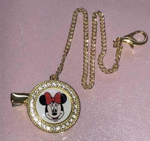 Minnie Mouse Dummy Clip Chain Gold Diamonds Diamanté Bling Brand New Baby Gift