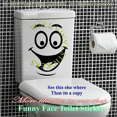 Smiley Face Toilet Wall Sticker Decal Mural Art Decor Funny Bathroom Gift Car