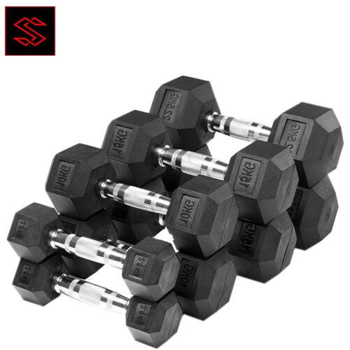 Hex Dumbbell Rubber Encased Dumbbells Weights Home Gym Fitness Pair 7.5 10 15KG