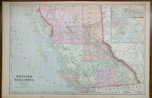 BRITISH-COLUMBIA-CANADA-1903-Vintage-Map-22-034-x14-034-Old-Antique-Original-REVELSTOKE