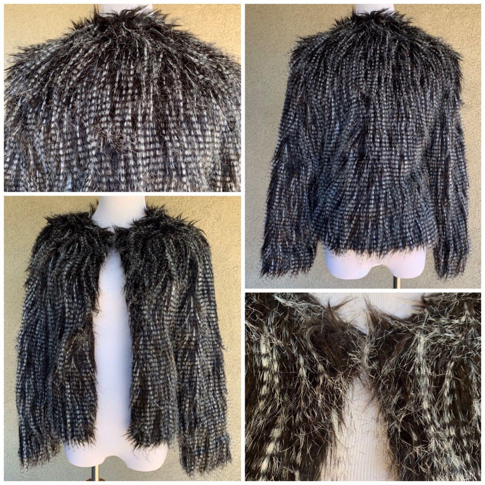 """Haoduoyi"" Feathery Faux Fur Jacket Coat B&W 70s Retro XS"