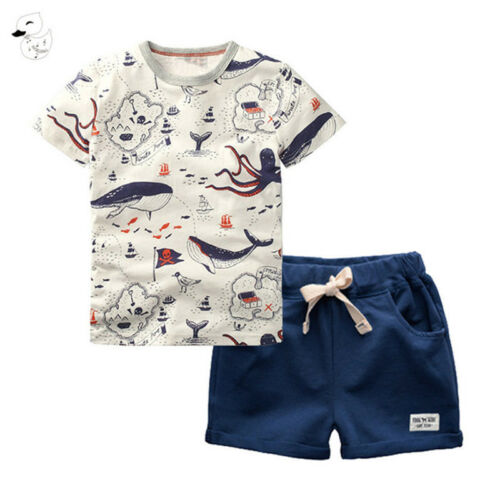 BINIDUCKLING 2PCS Children's Sets Boys O-Neck T-Shirt and Pants Shorts Summer