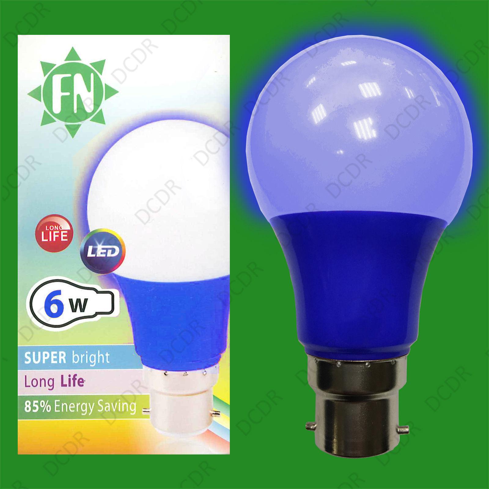 10x 6W LED Blau Colourot GLS A60 Light Bulb Lamp BC B22, Low Energy 110 - 265V