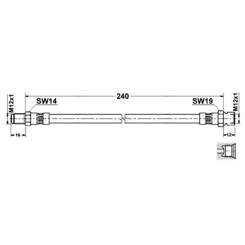 BREMSSCHLAUCH 240 mm MERCEDES-BENZ UNIMOG U54 U65 U66 U72 U80 U100 U800 U900