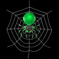 Halloween 17 Ft Led Green Spider On Web Airblown Inflatable