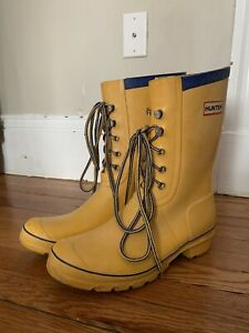 Details about GUC Hunter Lace,Up Rain Boots Yellow Mens 8/Womens 10