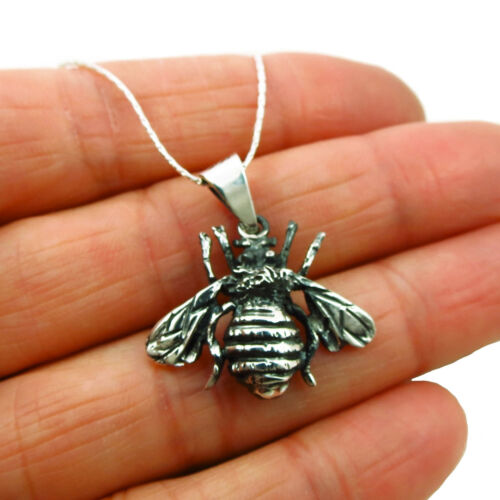 Bee 925 Sterling Silver Two Tone Baby Bumblebee Pendant in a Gift Box