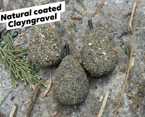 5 X 3 OZ NATURAL COATED CLAYNGRAVEL   INLINE CARP LEADS