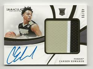 2019-20 Panini Immaculate CARSEN EDWARDS RPA Rookie Patch Auto 40/99 Purdue