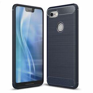 Google Pixel 3 XL Case Carbon Fiber Look Brushed Case Cover Pouch Blau