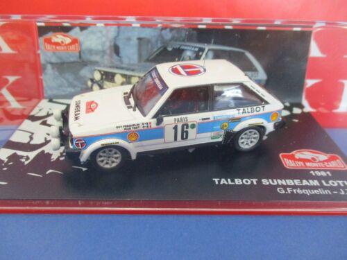 Diecast 1//43 Modellino Auto Talbot Sunbeam Lotus Rally Monte Carlo 81 Frequelin