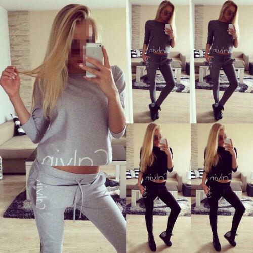 2Pcs Womens Tracksuit Hoodies Sweatshirt Pants Sets Sport Wear Lounge Suit uk