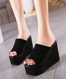 Women-039-s-Casual-Wedge-High-Heel-Slipper-Platform-Shoes-Sandals-Black-Slippers-SZ