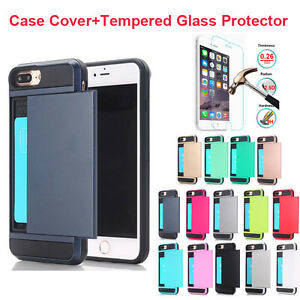 Hard-Card-Back-Phone-Case-Cover-Tempered-Glass-Screen-Film-For-iPhone-Series