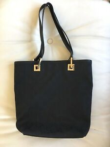 280996723326d6 Image is loading Authentic-Vintage-Gucci-Monogrammed-Leather-Tote-Bag