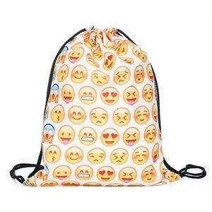 Fashion-Emoji-Cute-3D-Pattern-Travel-Backpack-Softback-Draw-String-Sport-Bag